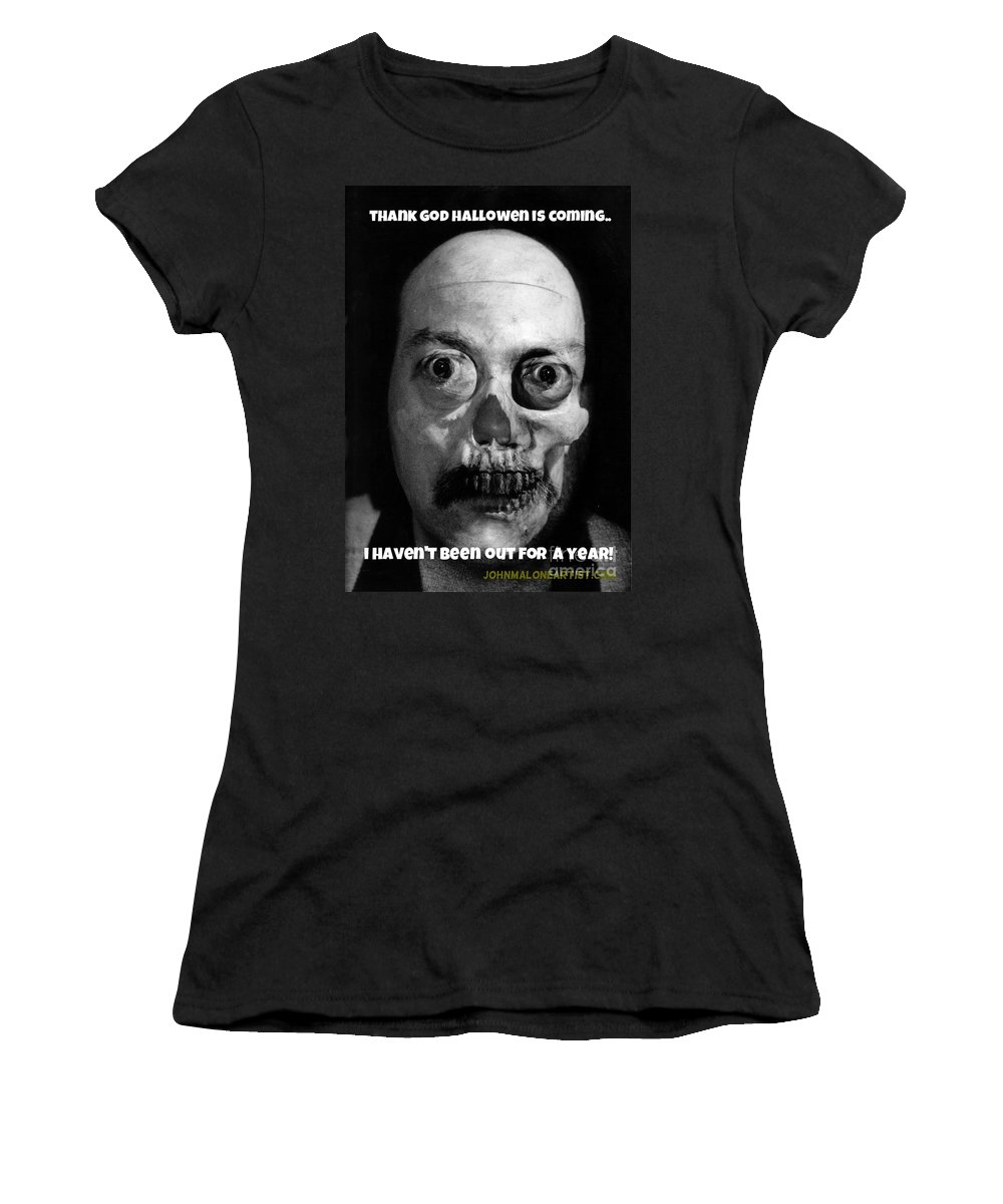Halloween Women's T-Shirt featuring the photograph Lonely Zombie by John Malone