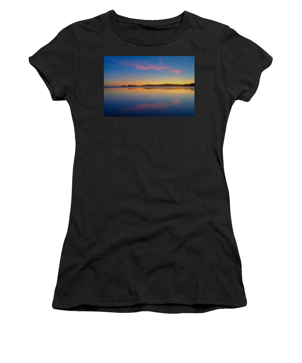 Long Beach Women's T-Shirt (Athletic Fit) featuring the photograph Long Beach Sunset by James Anderson