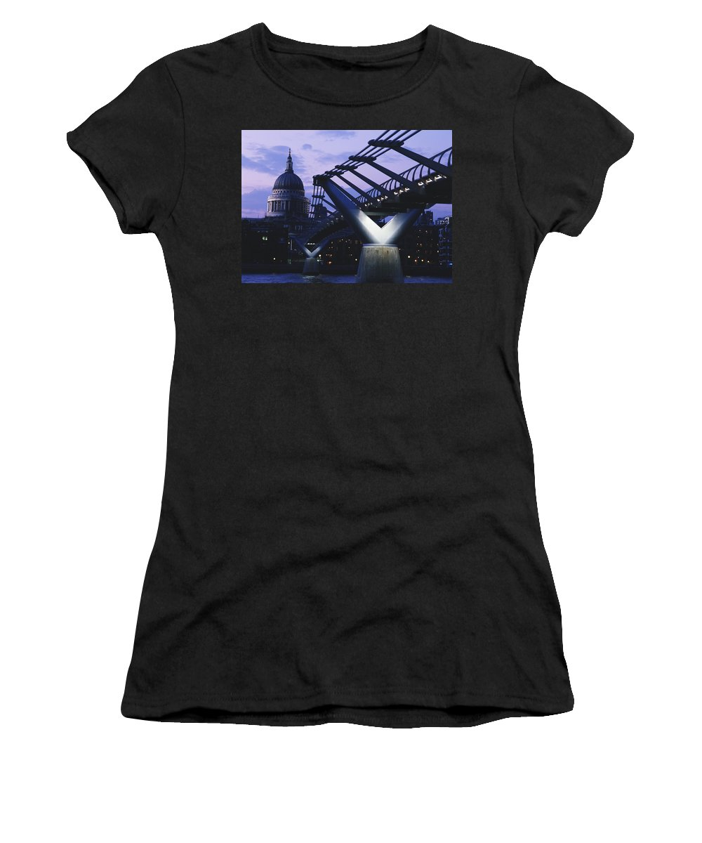 United Kingdom Women's T-Shirt (Athletic Fit) featuring the photograph Looking Along The Millennium Bridge by Axiom Photographic