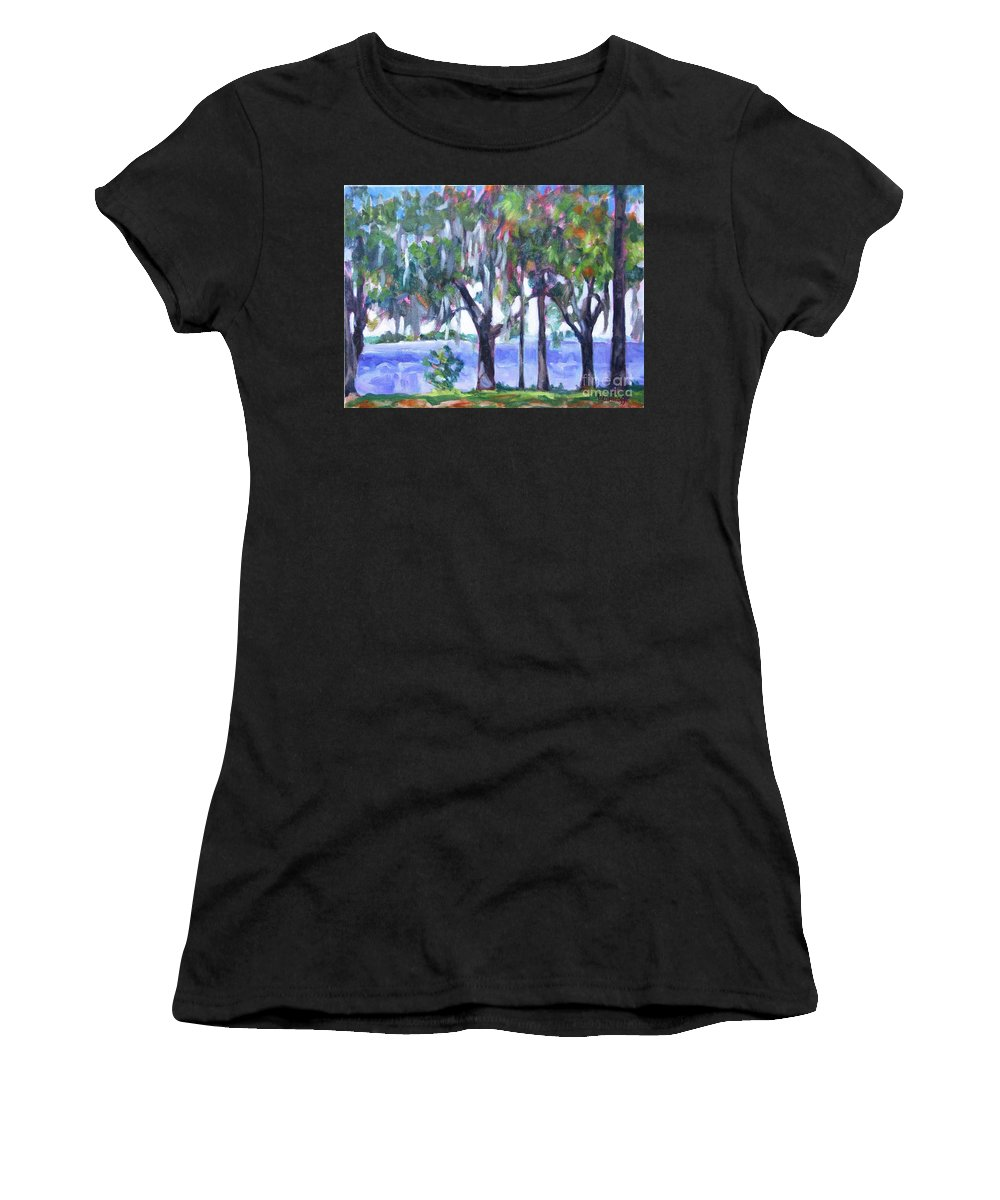 Ocean Bay Women's T-Shirt (Athletic Fit) featuring the painting Looking Out On The Bay by Jan Bennicoff