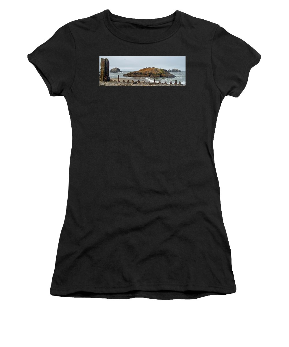 Looking Out Women's T-Shirt featuring the photograph Looking Out On The Pacific Ocean From The Sutro Bath Ruins In San Francisco by Jim Fitzpatrick