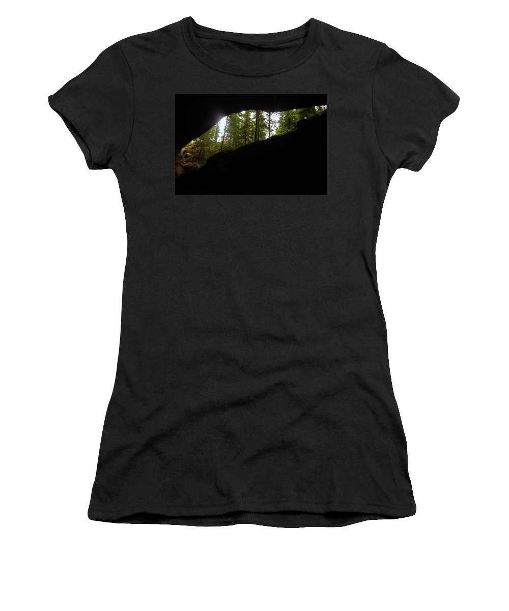 Caves Women's T-Shirt featuring the photograph Looking Outside Boulder Cave by Jeff Swan