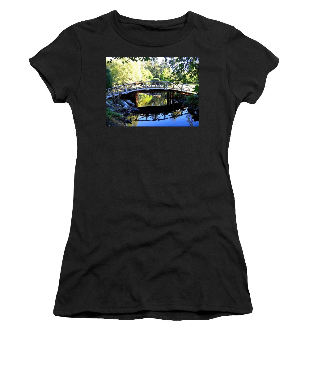 Lost Lagoon Bridge Women's T-Shirt (Athletic Fit) featuring the photograph Lost Lagoon Bridge by Will Borden