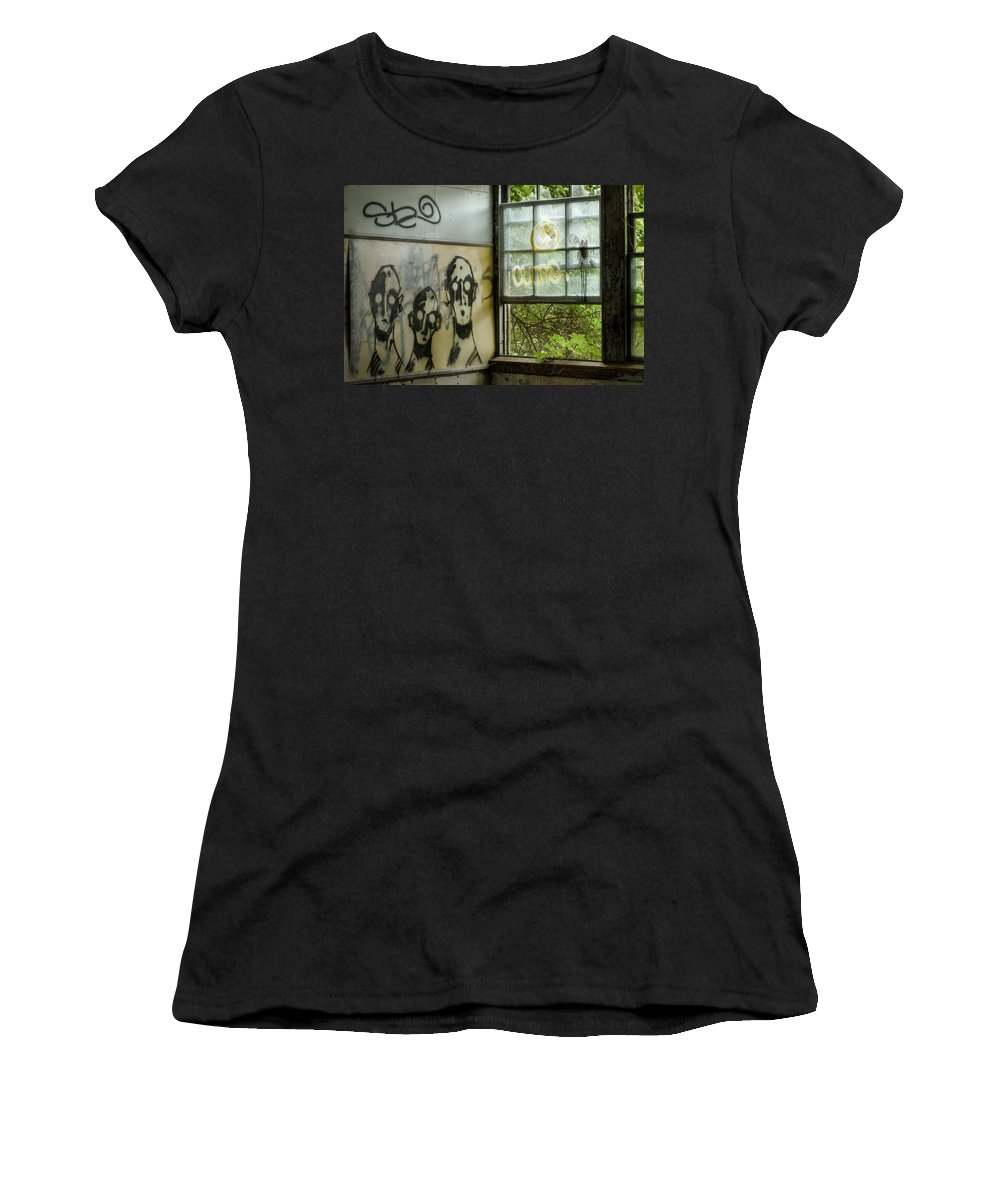 Abandoned Asylum Women's T-Shirt (Athletic Fit) featuring the photograph Lost Souls - Abandoned Places by Gary Heller