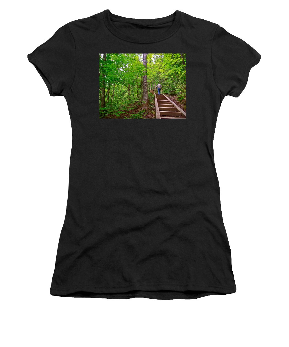 Lots Of Steps On La Chute Trail In Forillon Np Women's T-Shirt (Athletic Fit) featuring the photograph Lots Of Steps On La Chute Trail In Forillon Np-qc by Ruth Hager