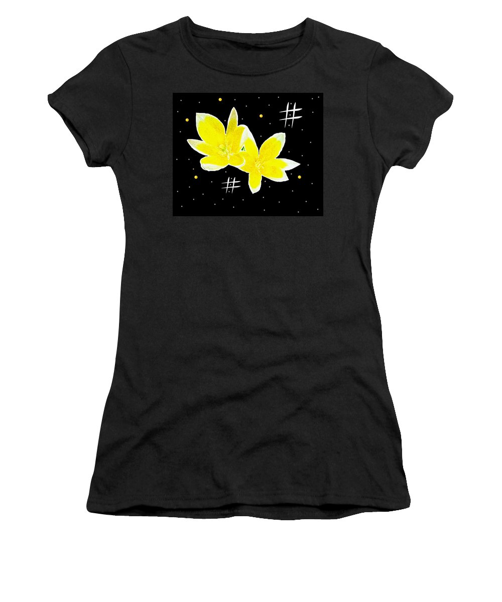 Landscape Women's T-Shirt featuring the mixed media Lotus On Black by Pepita Selles