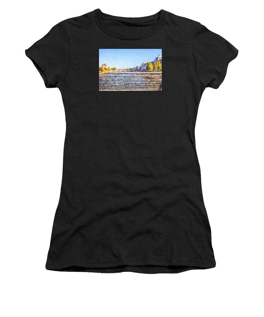 Love Padlocks Women's T-Shirt (Athletic Fit) featuring the digital art Love Across The Seine by Liz Leyden