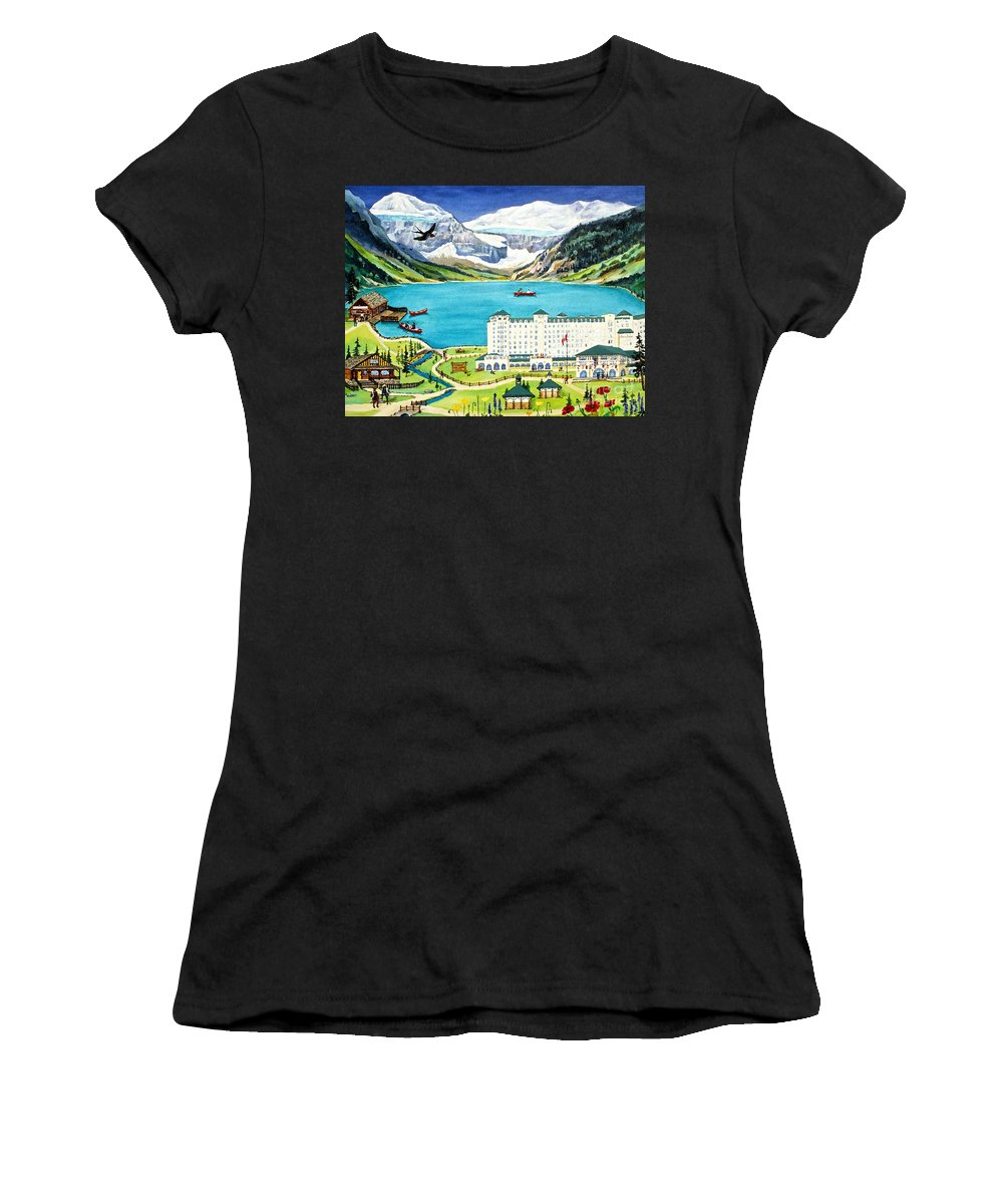 Lake Louise Women's T-Shirt (Athletic Fit) featuring the painting Lovely Lake Louise by Virginia Ann Hemingson