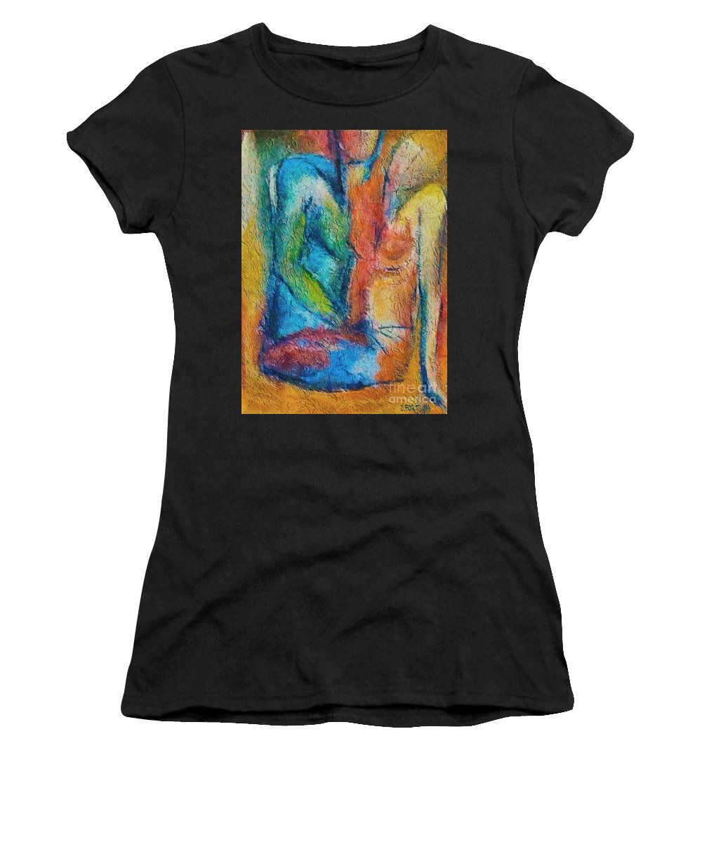 Mixed Media Women's T-Shirt (Athletic Fit) featuring the painting Lovers by Dragica Micki Fortuna