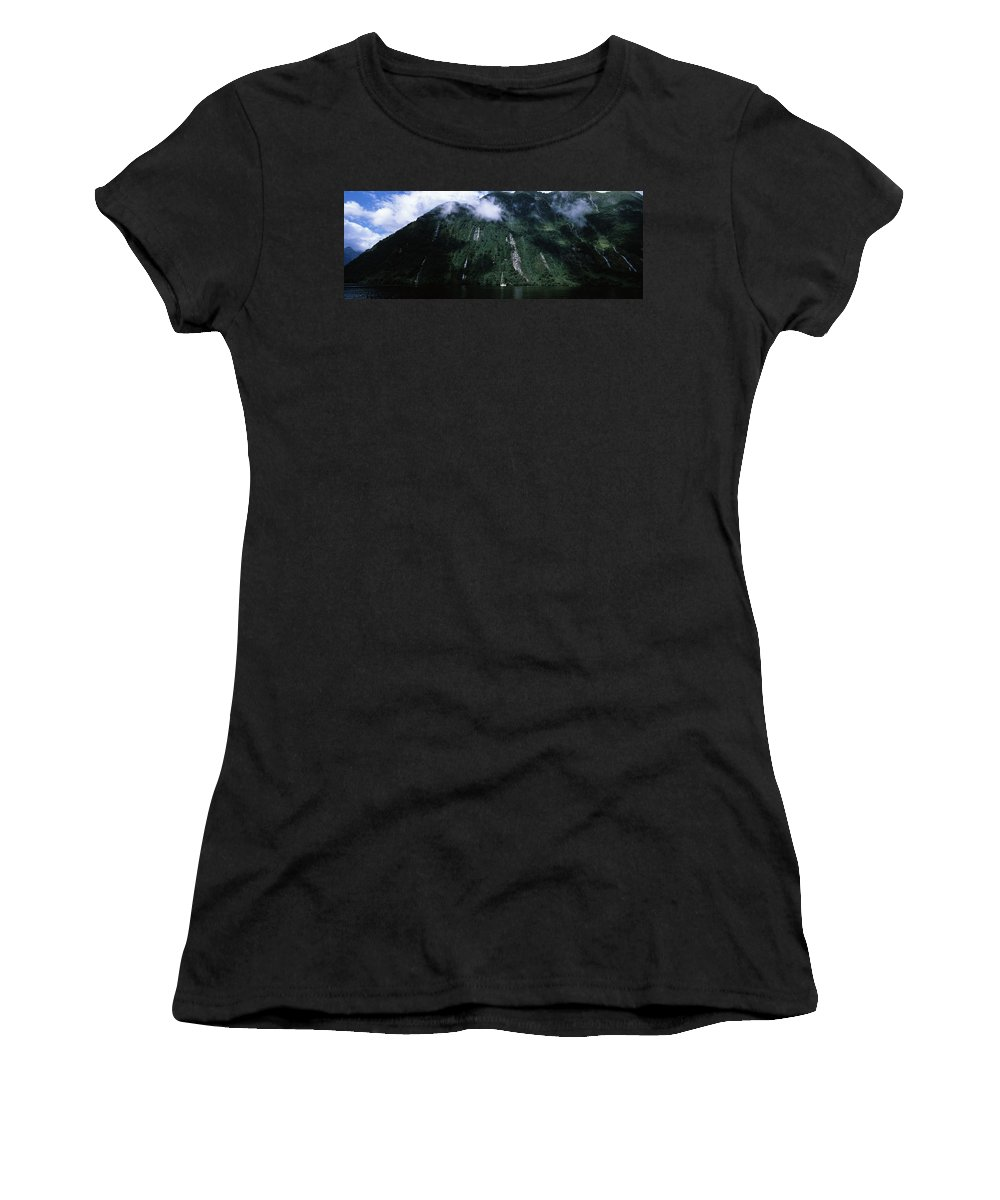 Photography Women's T-Shirt featuring the photograph Low Angle View Of A Mountain, Milford by Panoramic Images