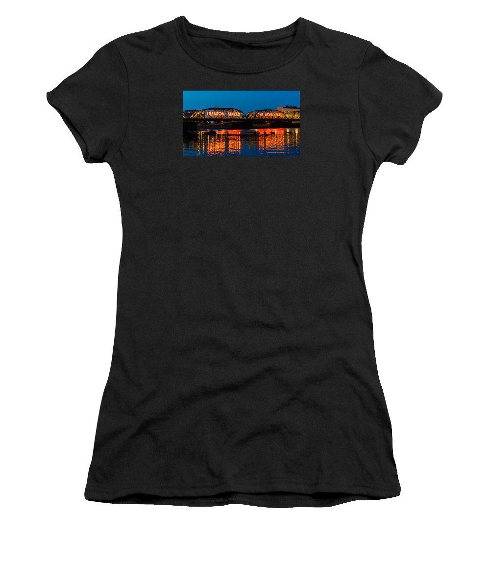New Jersey Women's T-Shirt featuring the photograph Lower Trenton Bridge by Louis Dallara