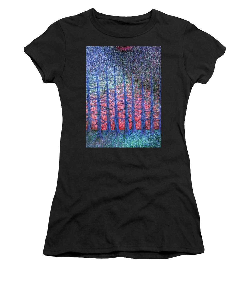 Colour Women's T-Shirt (Athletic Fit) featuring the drawing Lunar Night by Wojtek Kowalski