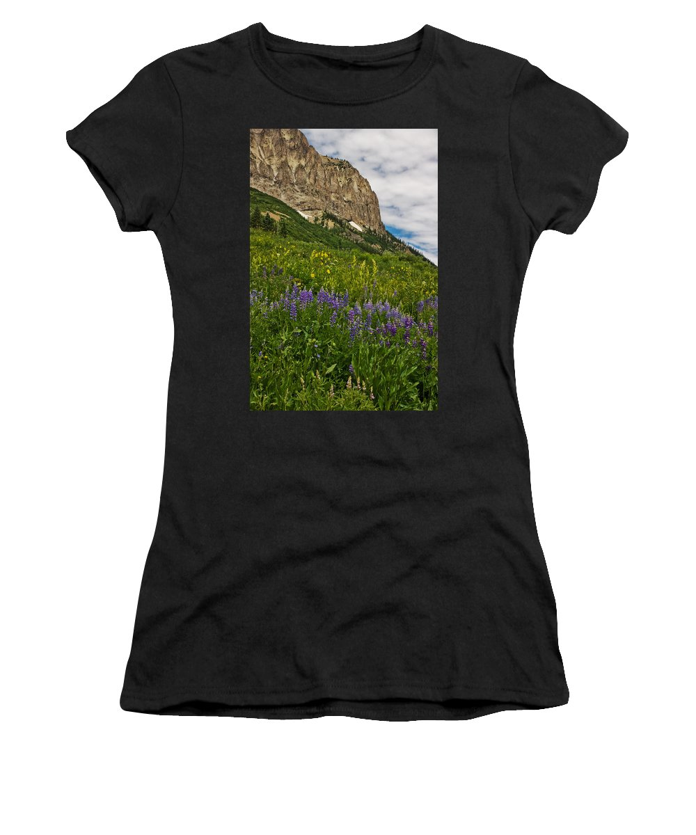 Crested Butte Women's T-Shirt (Athletic Fit) featuring the photograph Lupines On The Hillside by Ronda Kimbrow