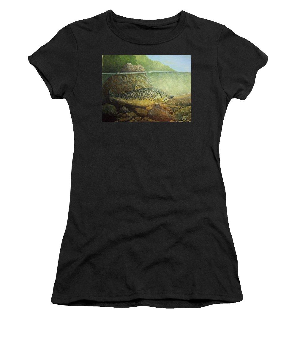 Rick Huotari Women's T-Shirt featuring the painting Lurking by Rick Huotari
