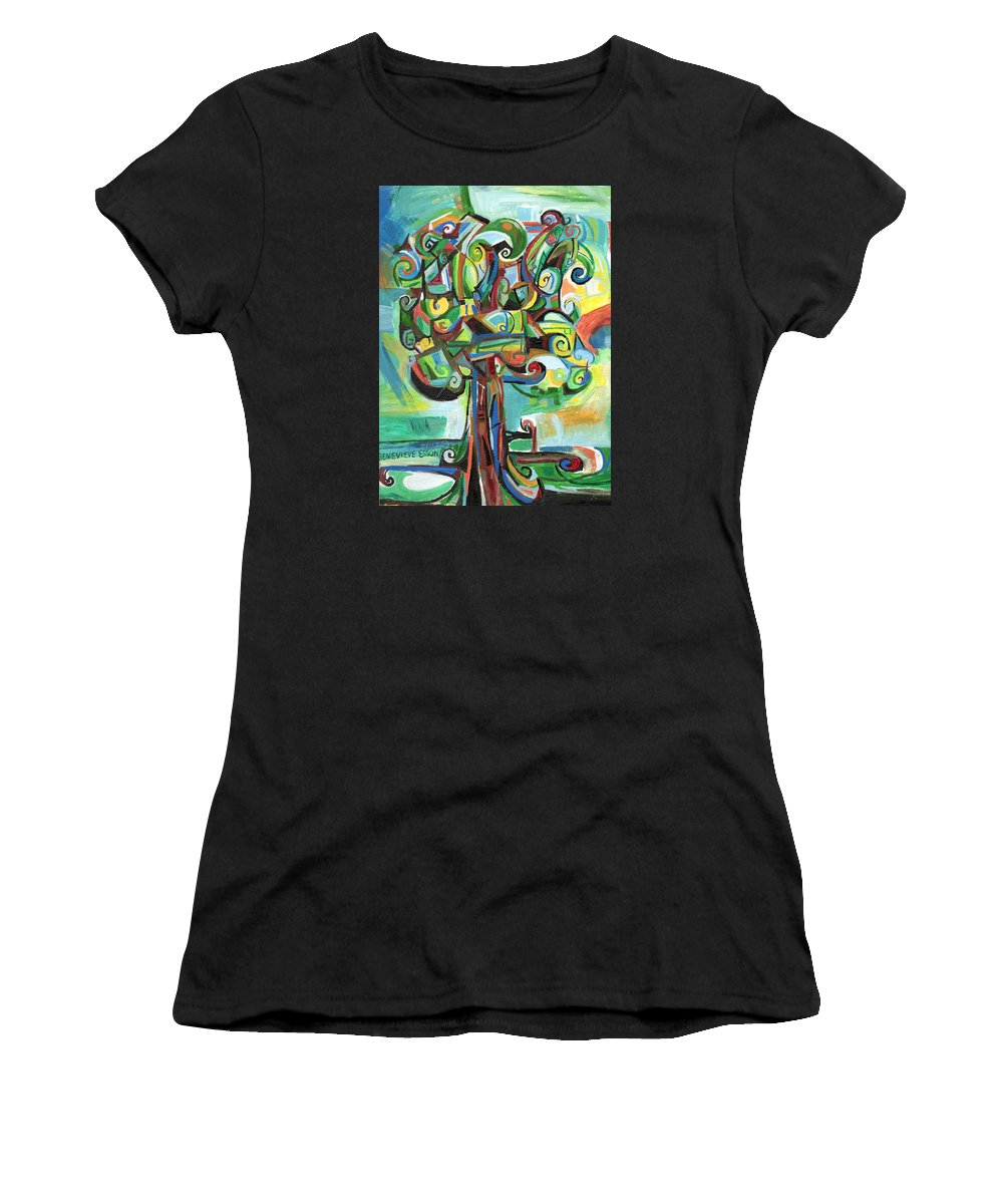 Tree Women's T-Shirt featuring the painting Lyrical Tree by Genevieve Esson