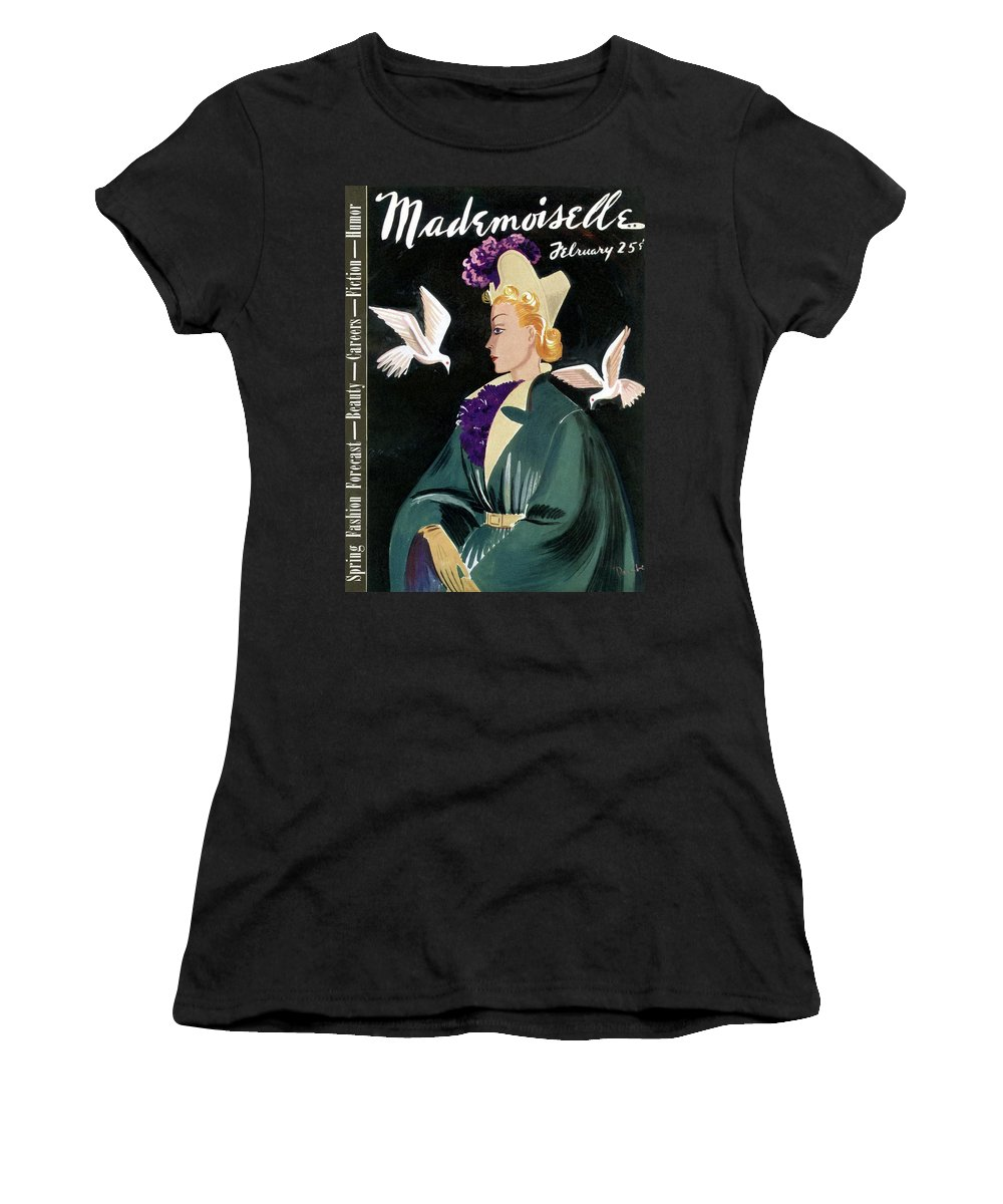 Fashion Women's T-Shirt featuring the photograph Mademoiselle Cover Featuring A Model In A Green by Elizabeth Dauber