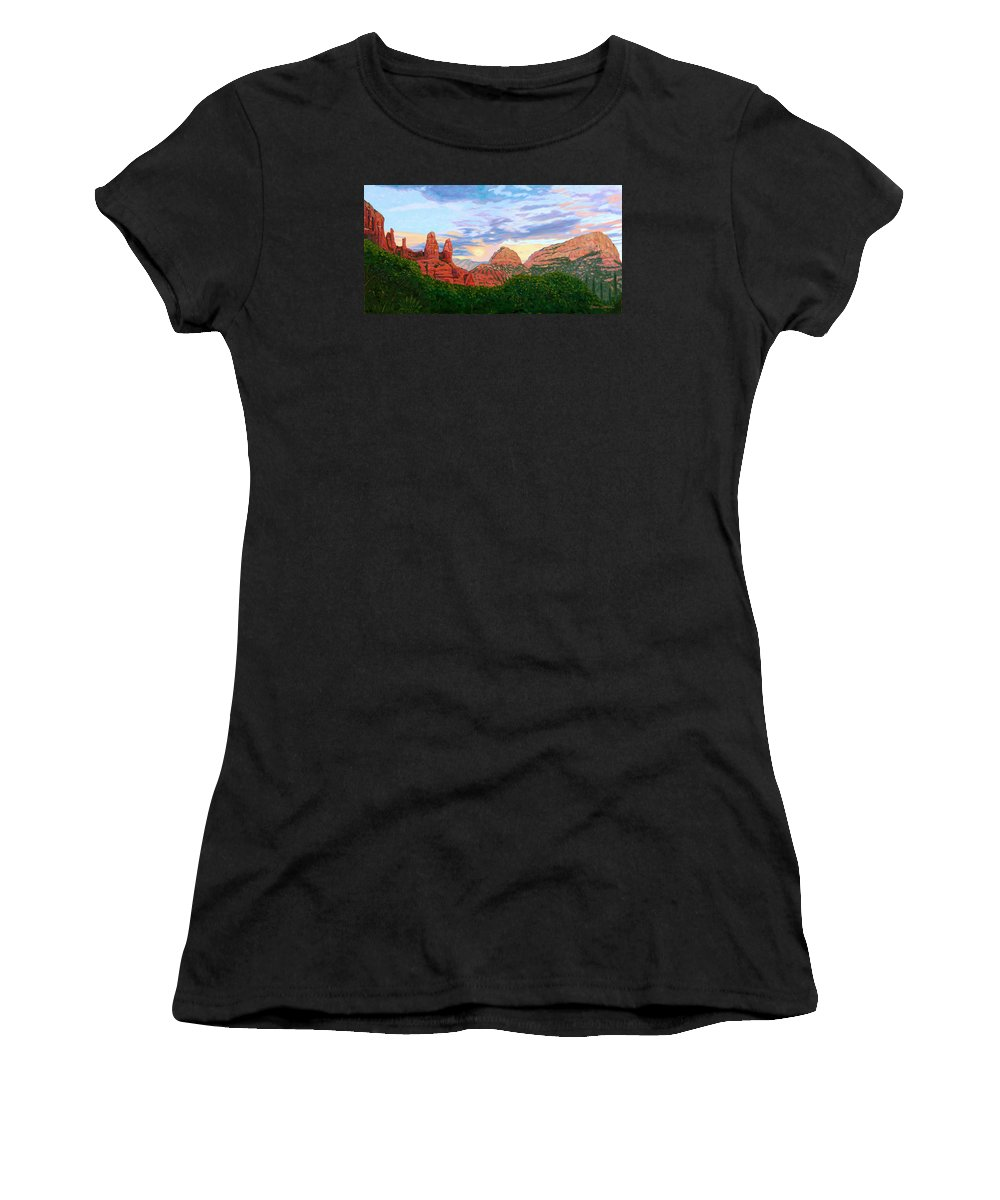 Madonna Women's T-Shirt featuring the painting Madonna And Nuns - Sedona by Steve Simon
