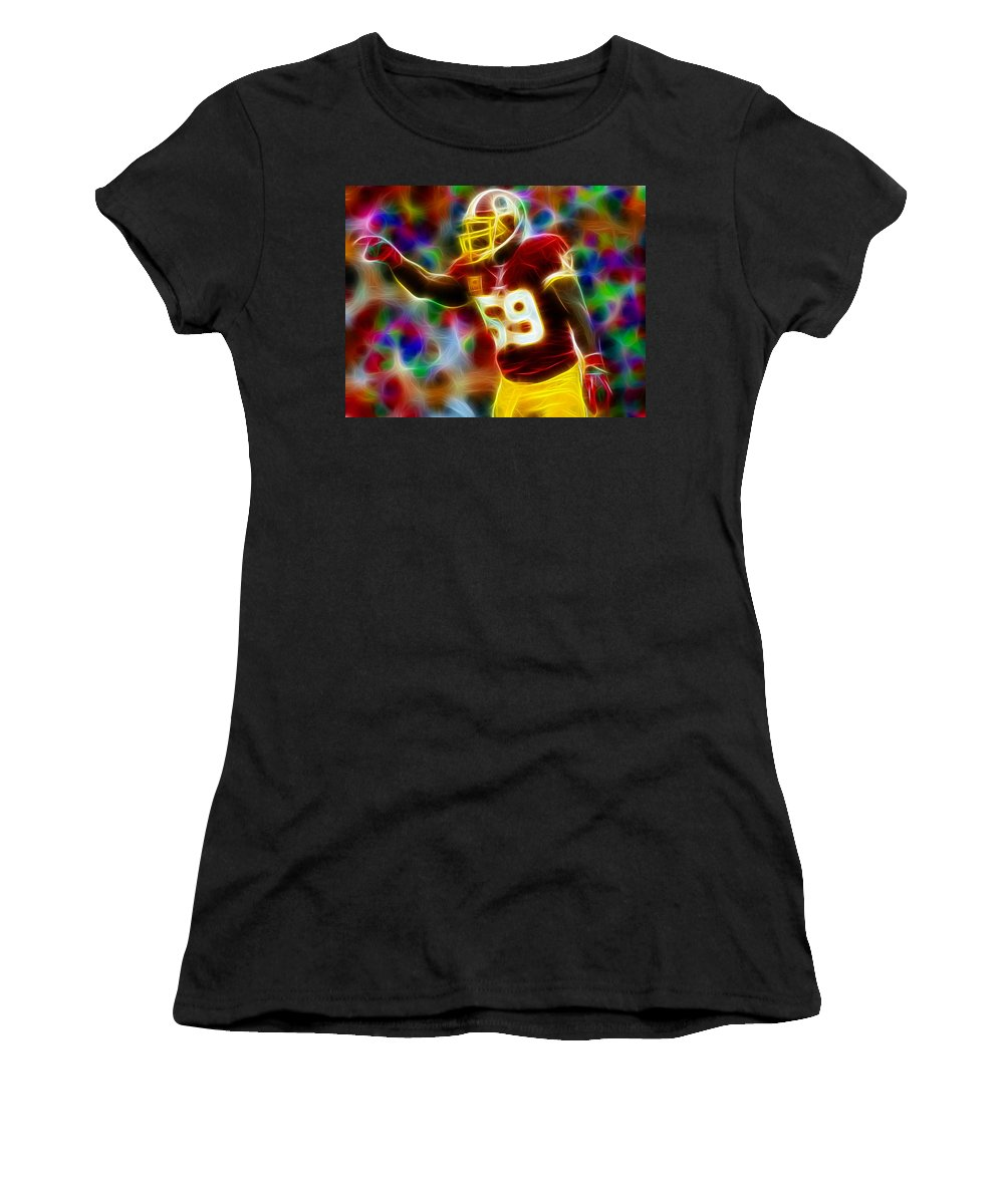 London Fletcher Women's T-Shirt (Athletic Fit) featuring the painting Magical London Fletcher by Paul Van Scott