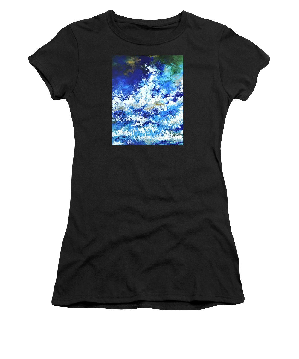 Ocean Women's T-Shirt (Athletic Fit) featuring the mixed media Magnificent Sea by Diana Rabinovich