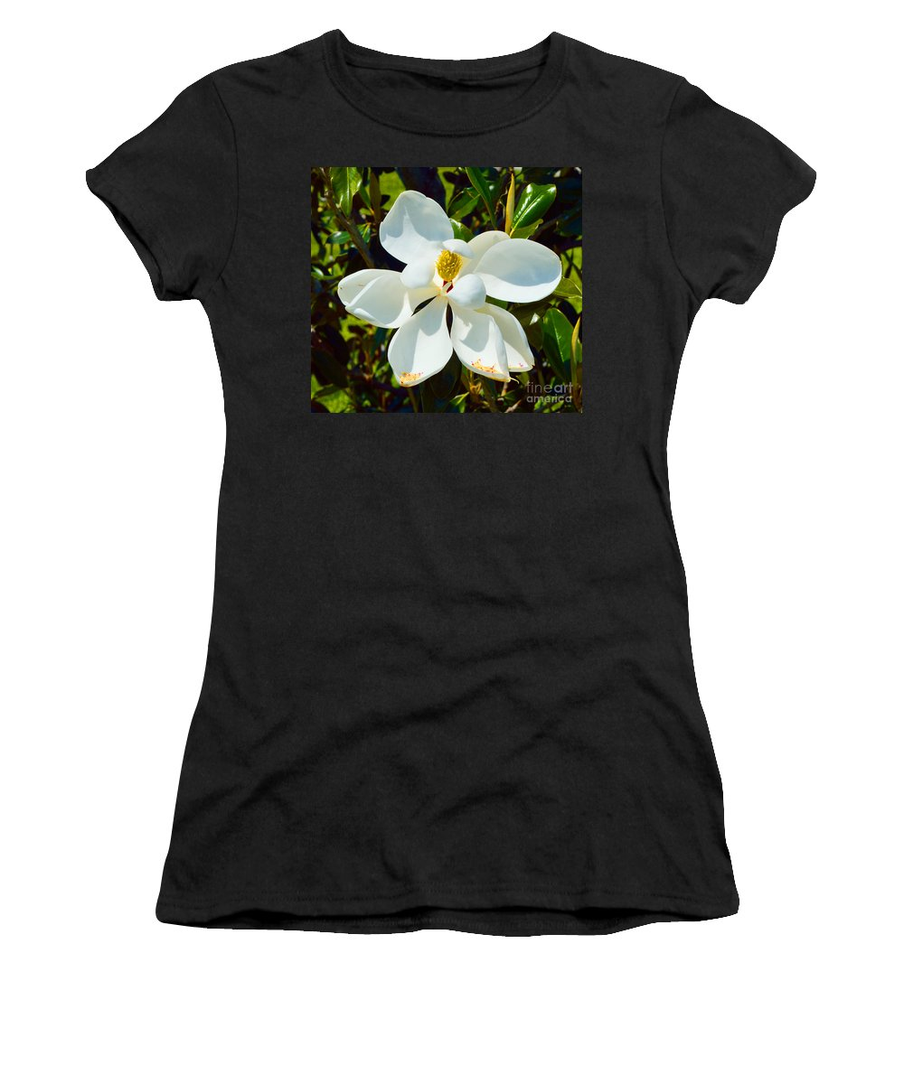 Magnolia Women's T-Shirt (Athletic Fit) featuring the photograph Magnolia Blossom by Alys Caviness-Gober
