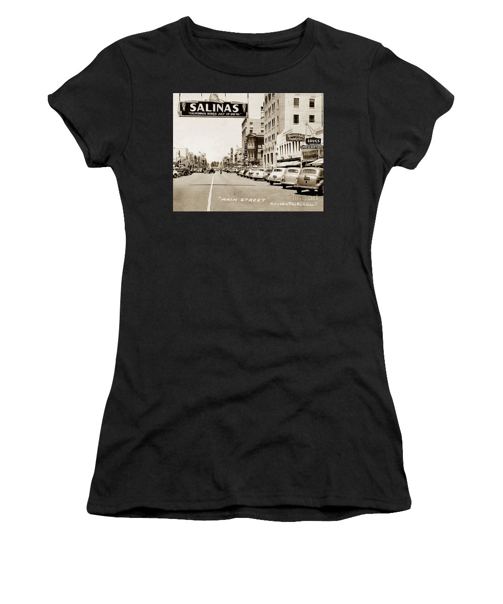 Main Women's T-Shirt (Athletic Fit) featuring the photograph Main Street Salinas California 1941 by California Views Archives Mr Pat Hathaway Archives