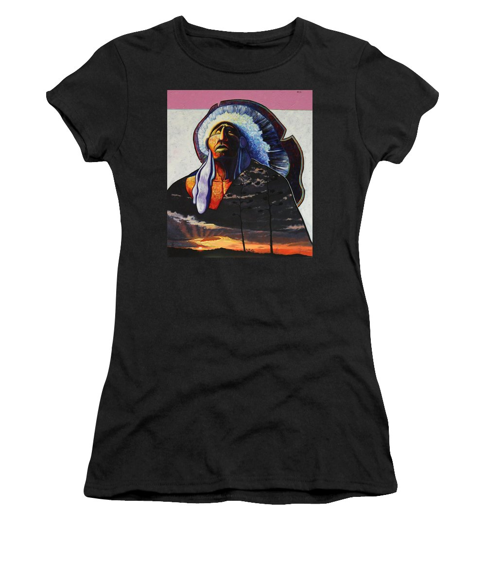 Native American Women's T-Shirt (Athletic Fit) featuring the painting Make Me Worthy by Joe Triano