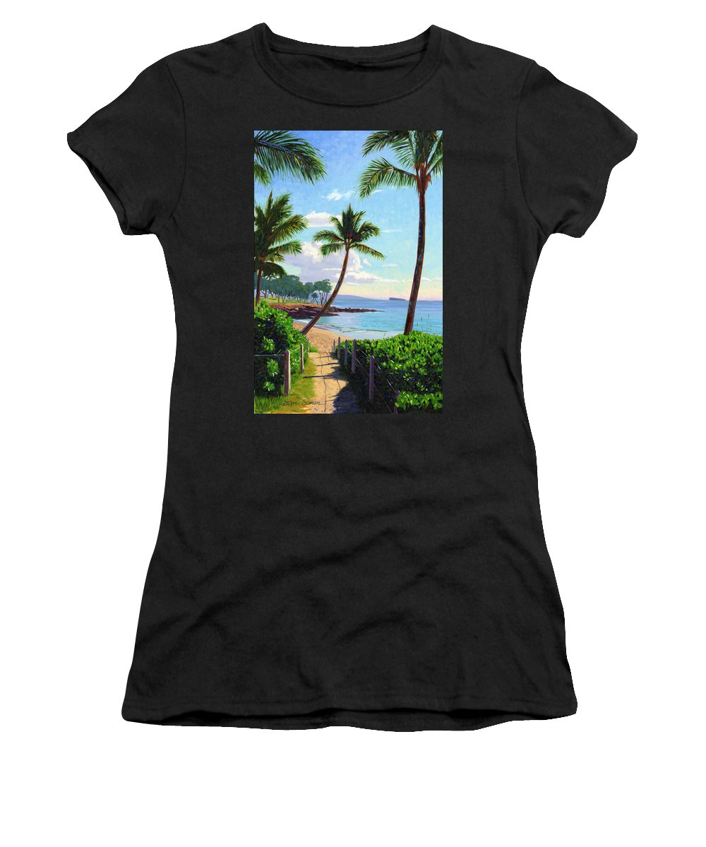 Makena Women's T-Shirt (Athletic Fit) featuring the painting Makena Beach - Maui by Steve Simon