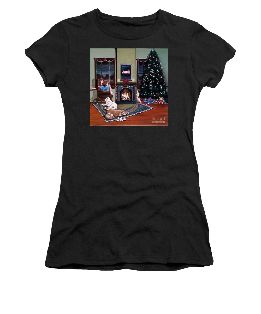 John Lyes Women's T-Shirt (Athletic Fit) featuring the painting Mallory Christmas by John Lyes