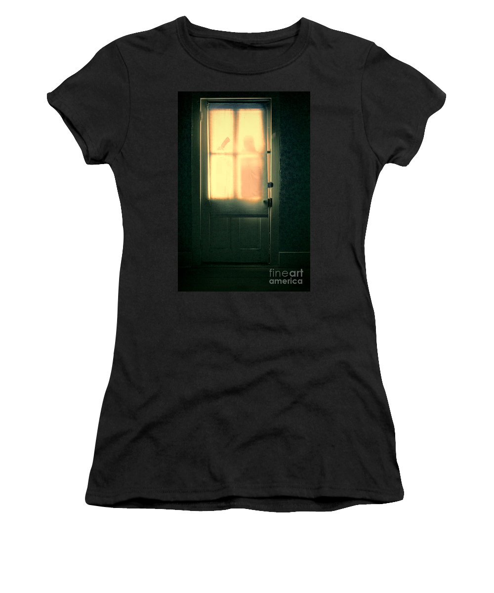 Door Women's T-Shirt featuring the photograph Man At Door With Cleaver by Jill Battaglia