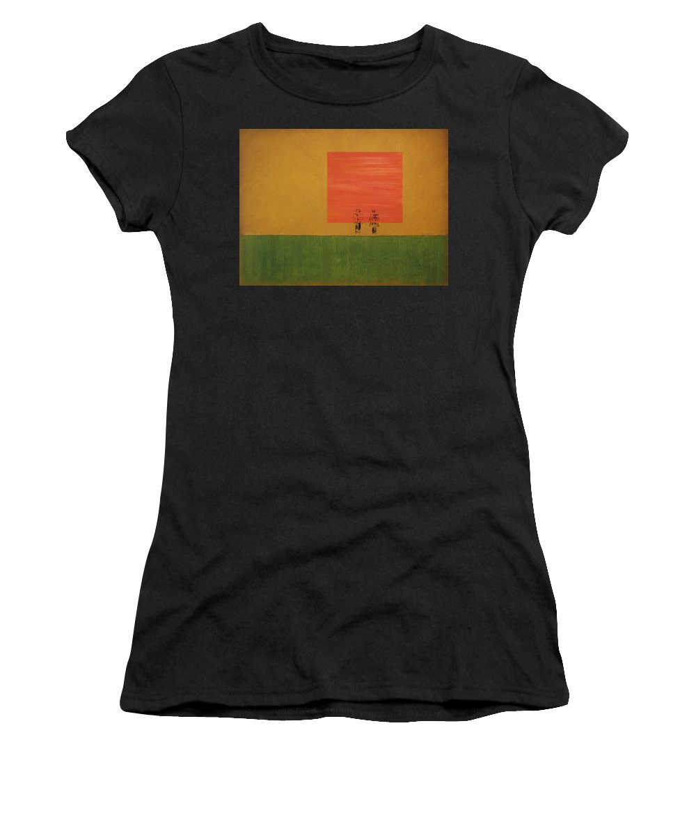 Oil On Canvas Women's T-Shirt (Athletic Fit) featuring the painting Man On The Brink by David Hansen