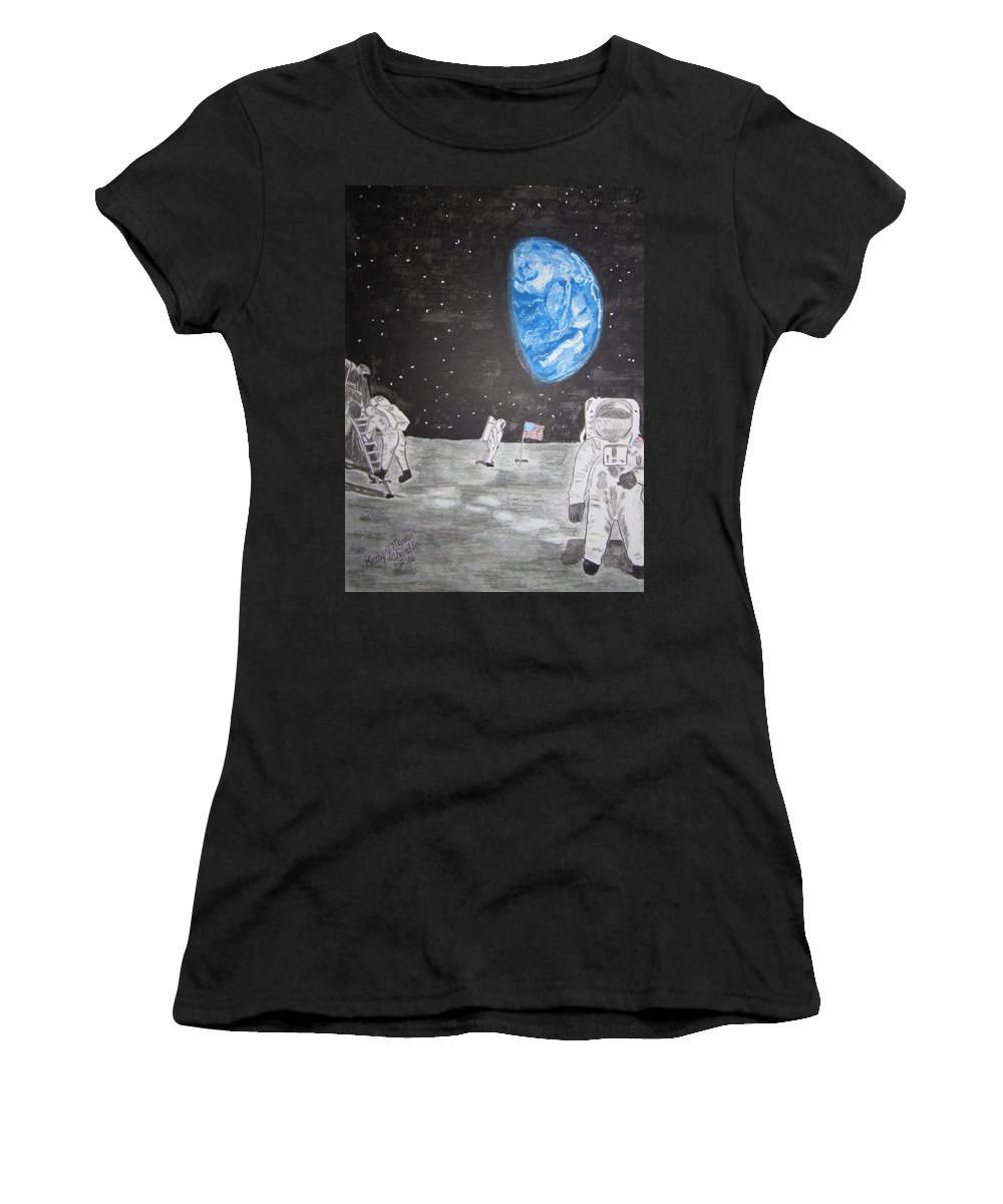 Stars Women's T-Shirt (Athletic Fit) featuring the painting Man On The Moon by Kathy Marrs Chandler