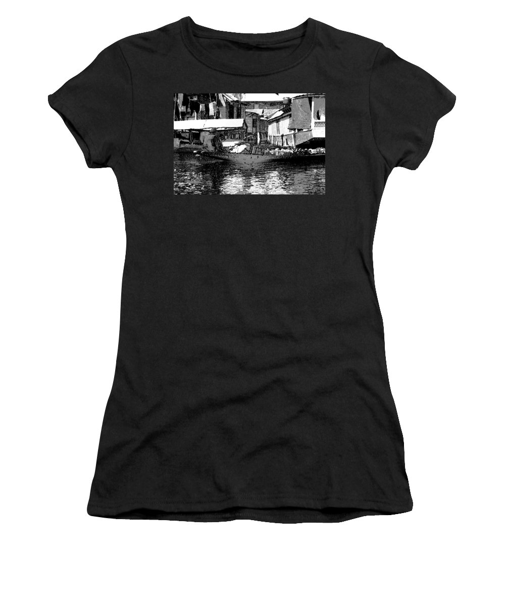 Canon Women's T-Shirt (Athletic Fit) featuring the digital art Man Plying A Small Boat Laden With Vegetables In The Dal Lake by Ashish Agarwal