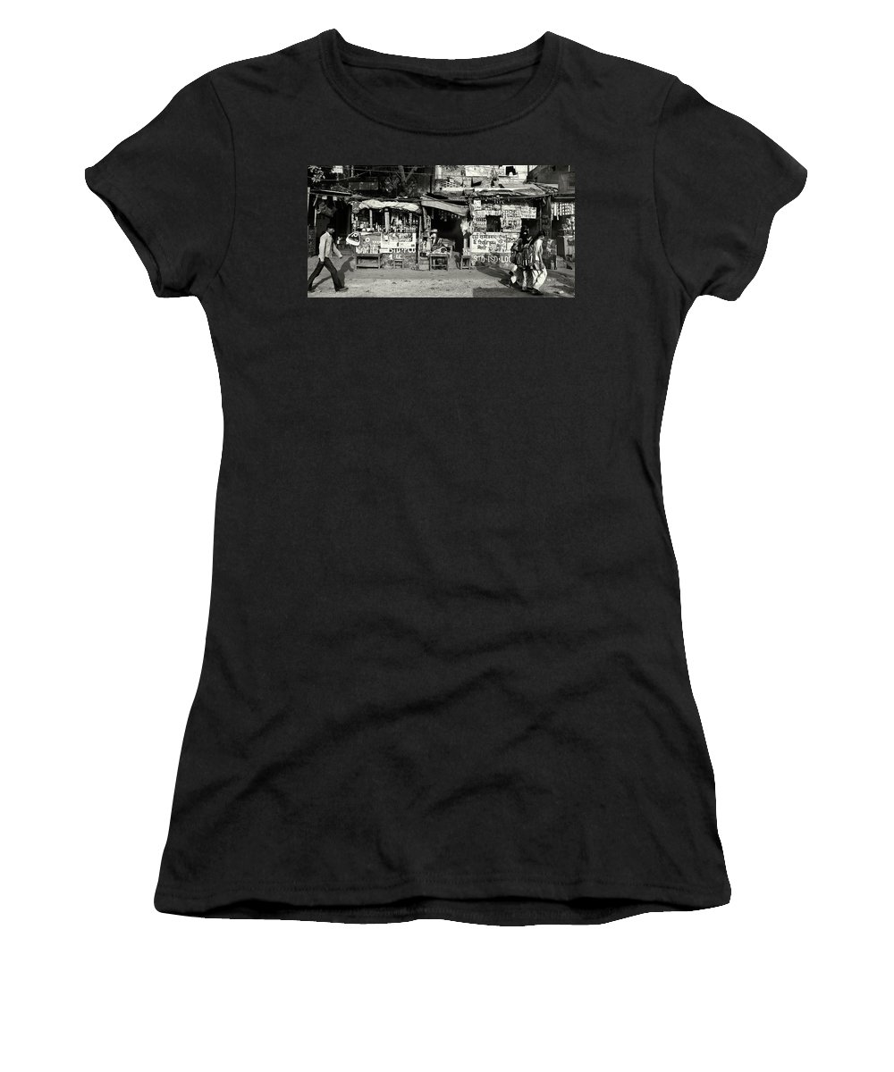 Travel Women's T-Shirt (Athletic Fit) featuring the photograph Man Woman And Schoolgirls by Roberto Pagani