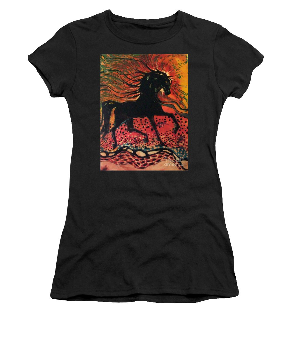 Horse Women's T-Shirt (Athletic Fit) featuring the tapestry - textile Mane In Autumn Light by Carol Law Conklin