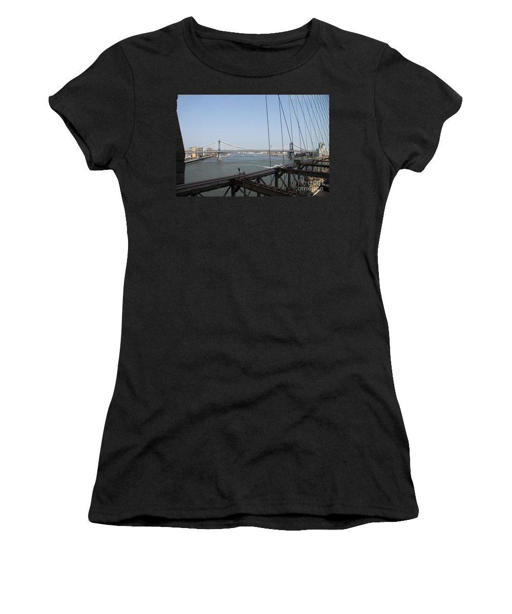 Manhattan Bridge Women's T-Shirt featuring the photograph Manhattan Bridge by Christiane Schulze Art And Photography