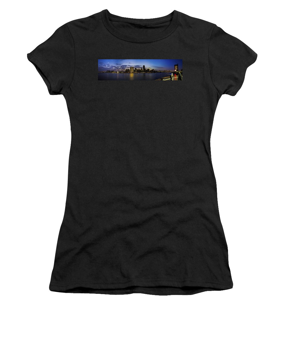 Gantry Plaza State Park Women's T-Shirt (Athletic Fit) featuring the photograph Manhattan From Gantry by Theodore Jones