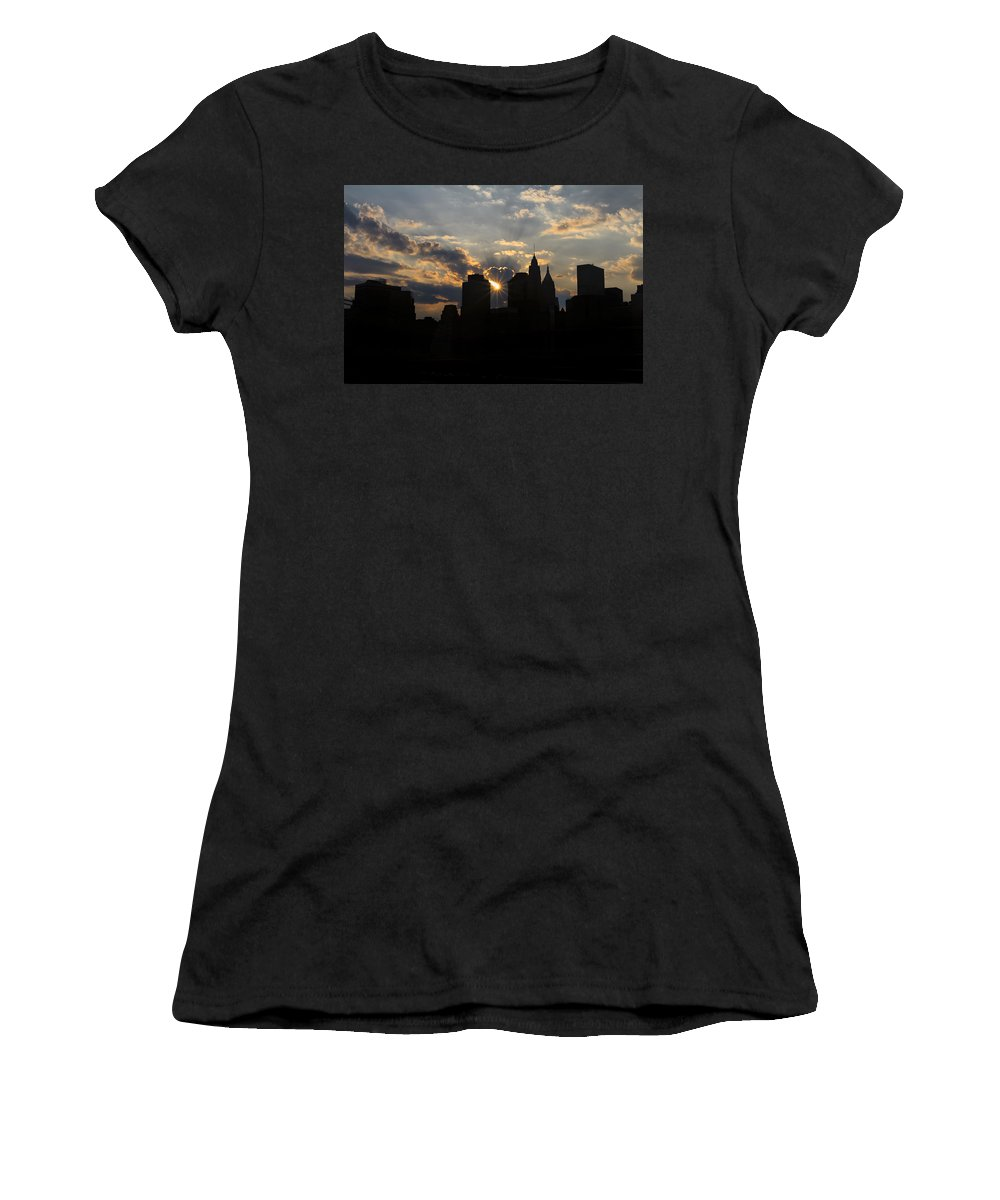 Sunset Women's T-Shirt (Athletic Fit) featuring the photograph Manhattan Skyline At Sunset by Eduard Moldoveanu