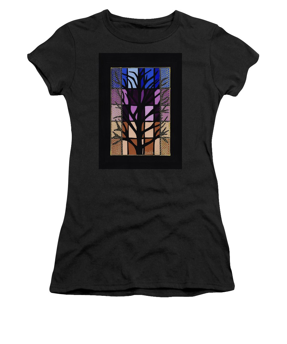 Manitoba Maple Women's T-Shirt (Athletic Fit) featuring the painting Manitoba Maple by Barbara St Jean