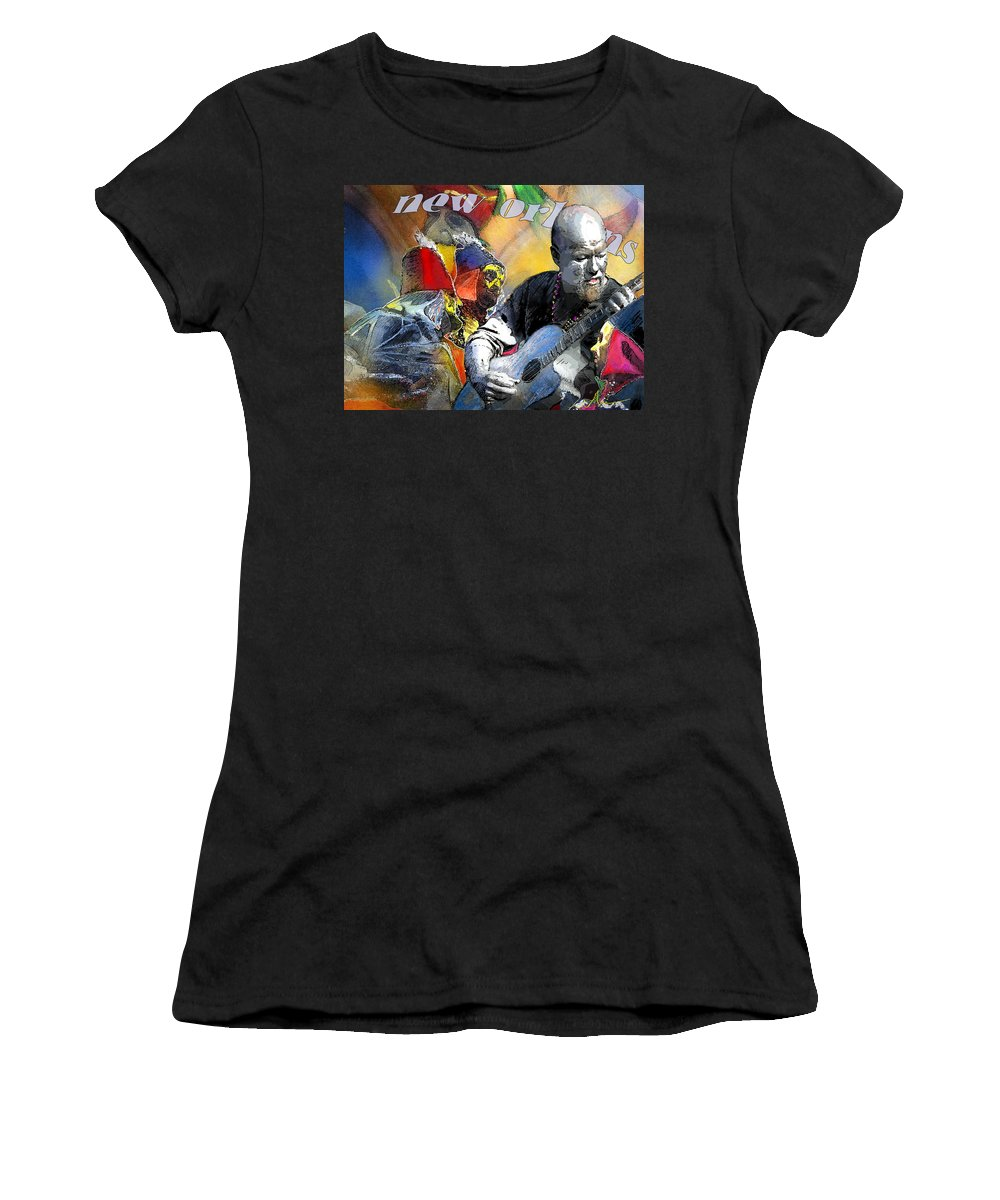 Mardi Gras Women's T-Shirt (Athletic Fit) featuring the painting Mardi-gras 2010 In New Orleans 01 by Miki De Goodaboom