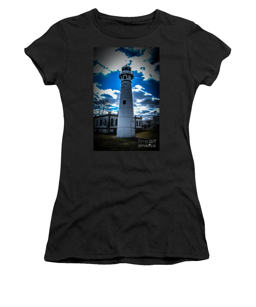 Lighthouse Women's T-Shirt (Athletic Fit) featuring the photograph Marine City Michigan Lighthouse by Ronald Grogan