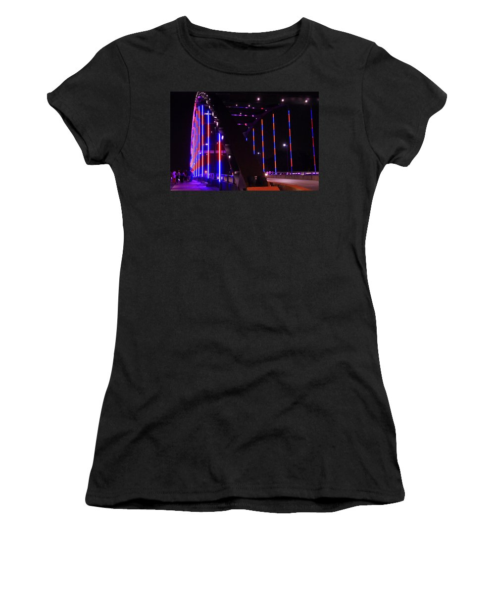 Martin Luther King Jr Bridge Lit Up Women's T-Shirt featuring the photograph Martin Luther King Jr Bridge Lit Up by Dan Sproul