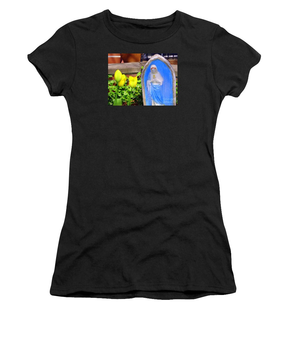 Tulips Women's T-Shirt (Athletic Fit) featuring the photograph Mary In Springtime by Ed Weidman