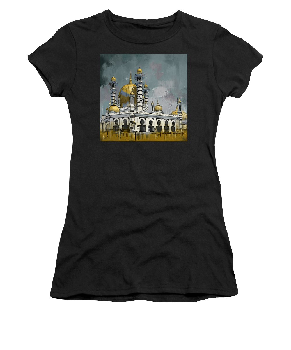 Masjid Ubudiah Women's T-Shirt (Athletic Fit) featuring the painting Masjid Ubudiah by Corporate Art Task Force