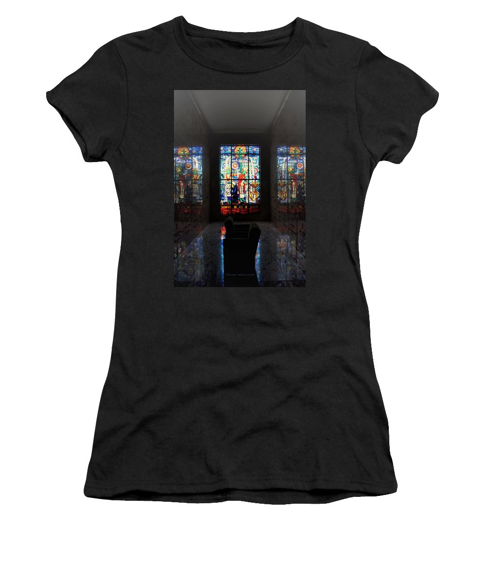 Glass Art Women's T-Shirt (Athletic Fit) featuring the photograph Mausoleum Stained Glass 07 by Thomas Woolworth