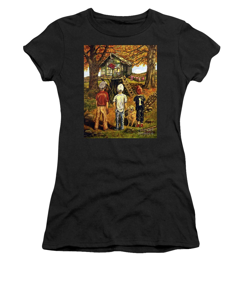 Trees Women's T-Shirt (Athletic Fit) featuring the painting Meadow Haven by Linda Simon