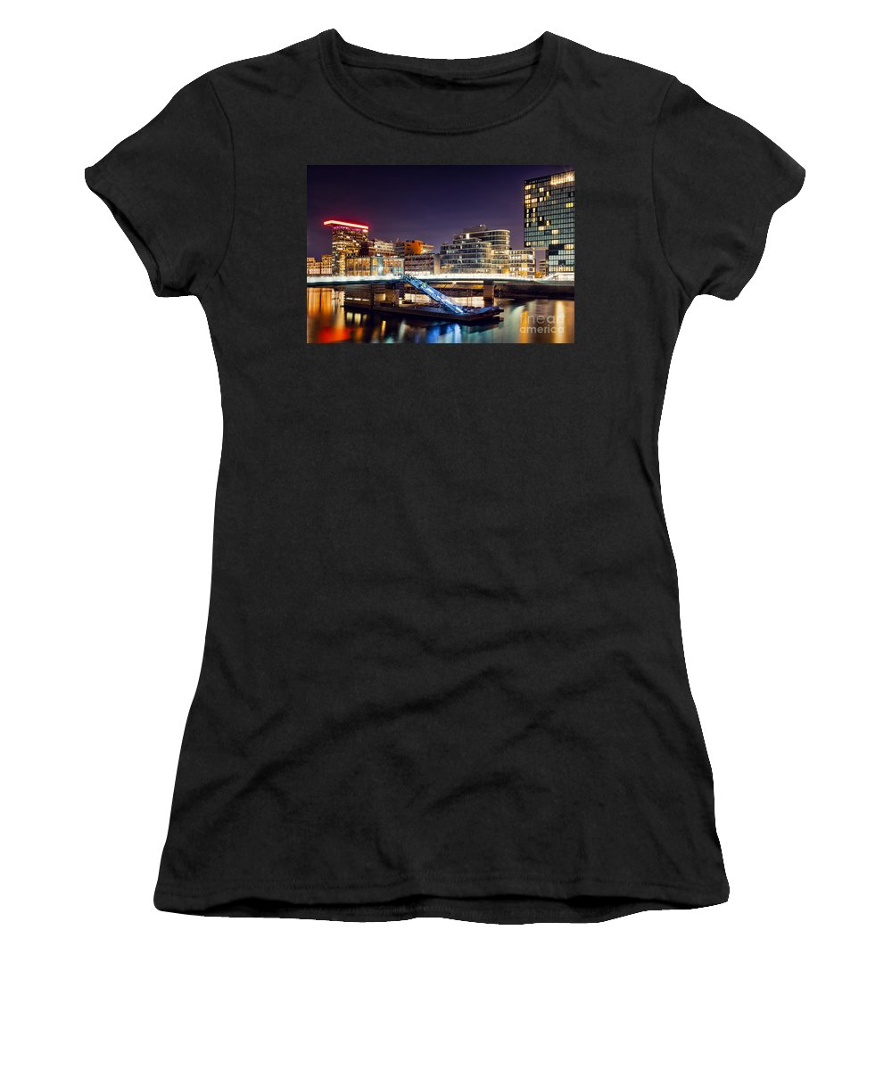 Media Women's T-Shirt (Athletic Fit) featuring the photograph Media Harbor Dusseldorf by Daniel Heine