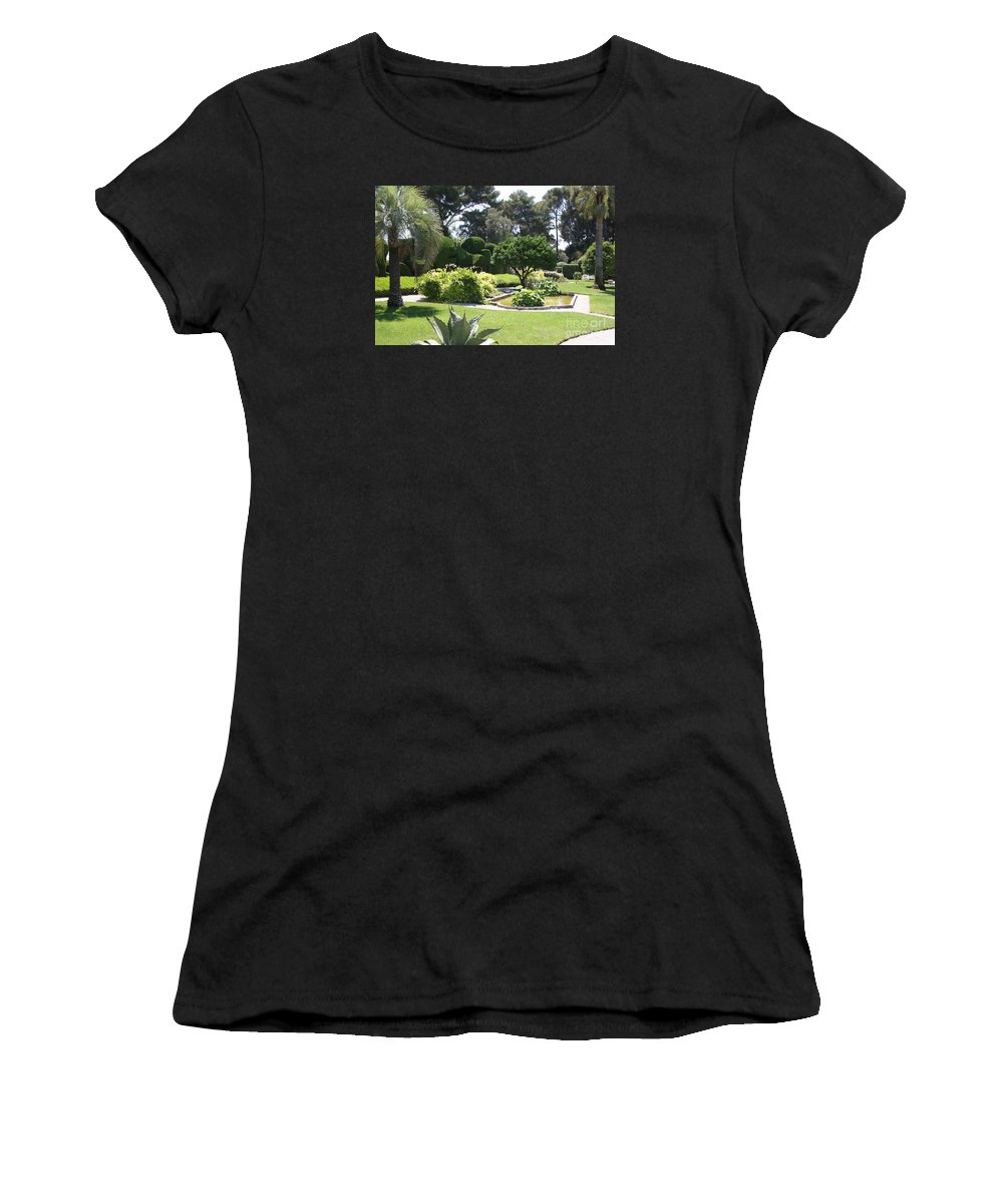 Park Women's T-Shirt (Athletic Fit) featuring the photograph Mediterranean Garden - Cote D Azur by Christiane Schulze Art And Photography
