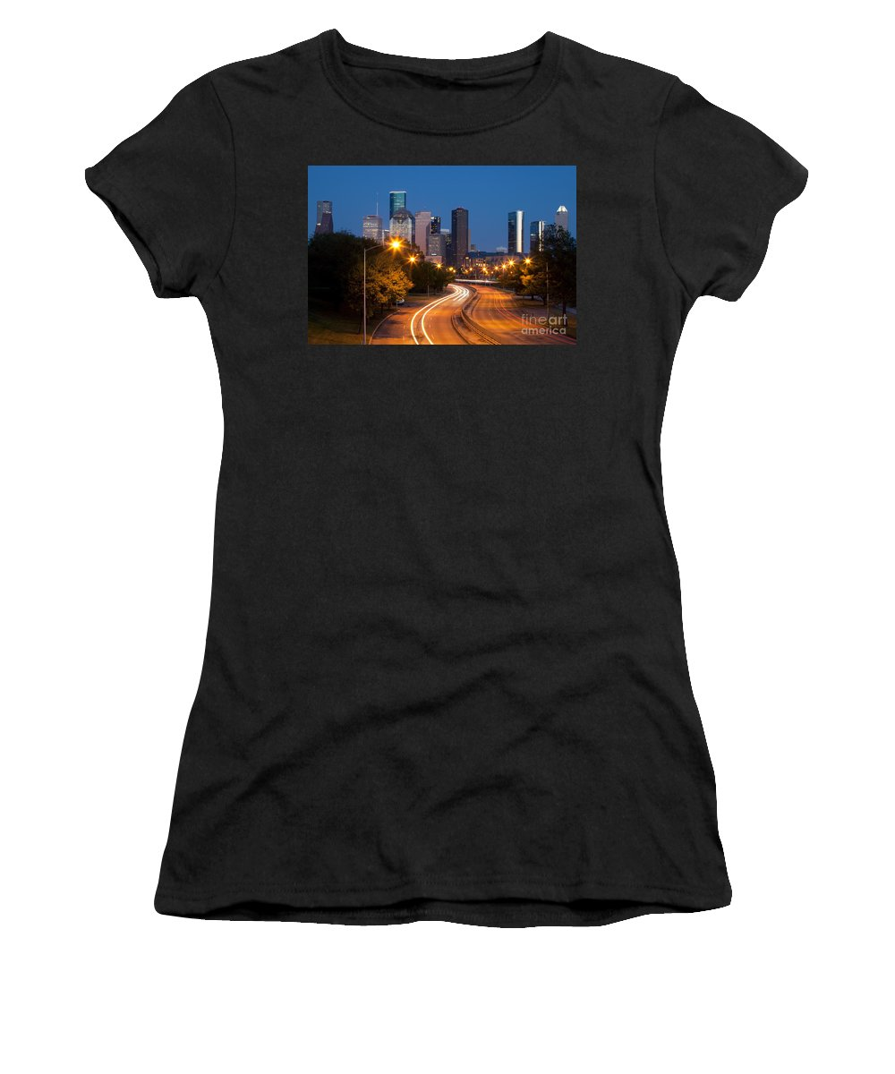 Houston Women's T-Shirt (Athletic Fit) featuring the photograph Memorial Drive And Houston Skyline by Bill Cobb