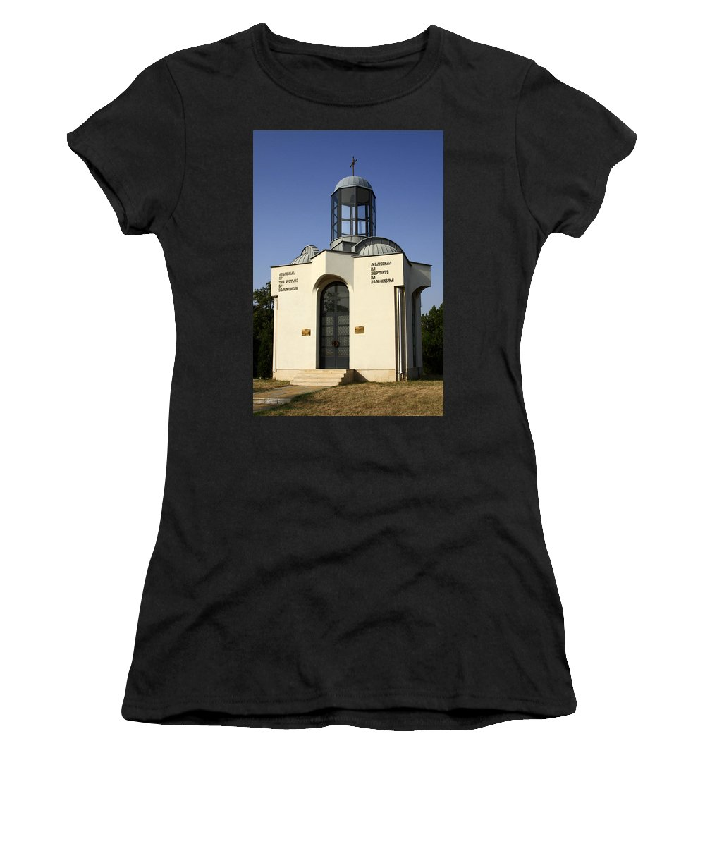 Memorial Of The Victims Of Communism Women's T-Shirt (Athletic Fit) featuring the photograph Memorial Of The Victims Of Communism by Sally Weigand