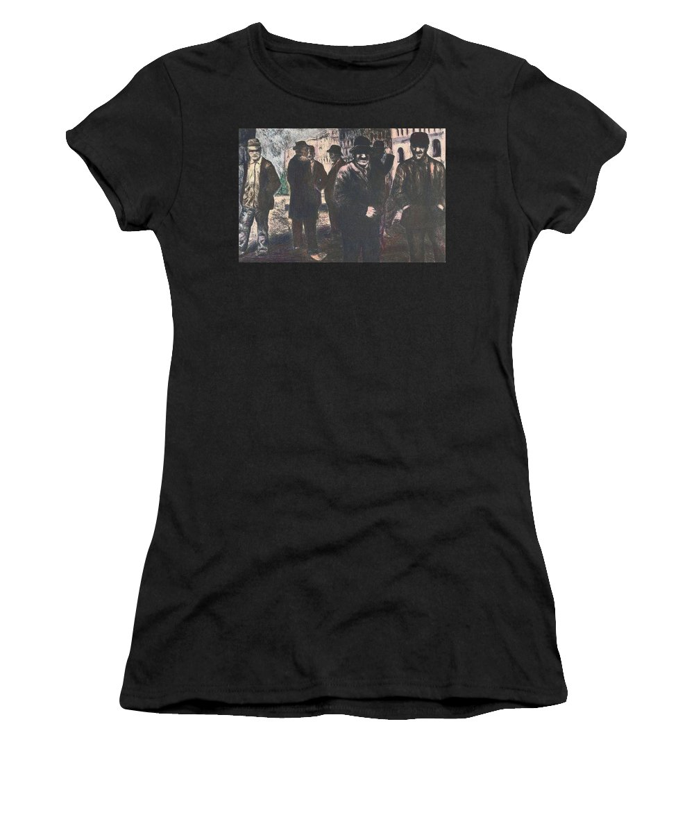 Men Women's T-Shirt featuring the drawing Men In Yellow Light by Kendall Kessler